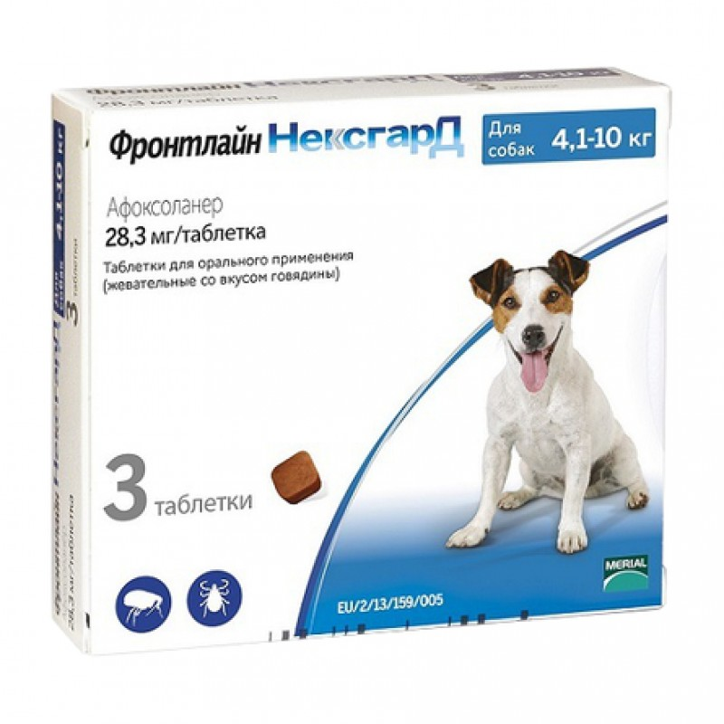 Фронтлайн НЕКСГАРД Жевательные таблетки от блох и клещей для собак 4,1-10 кг, 3 таблетки по 28 мг
