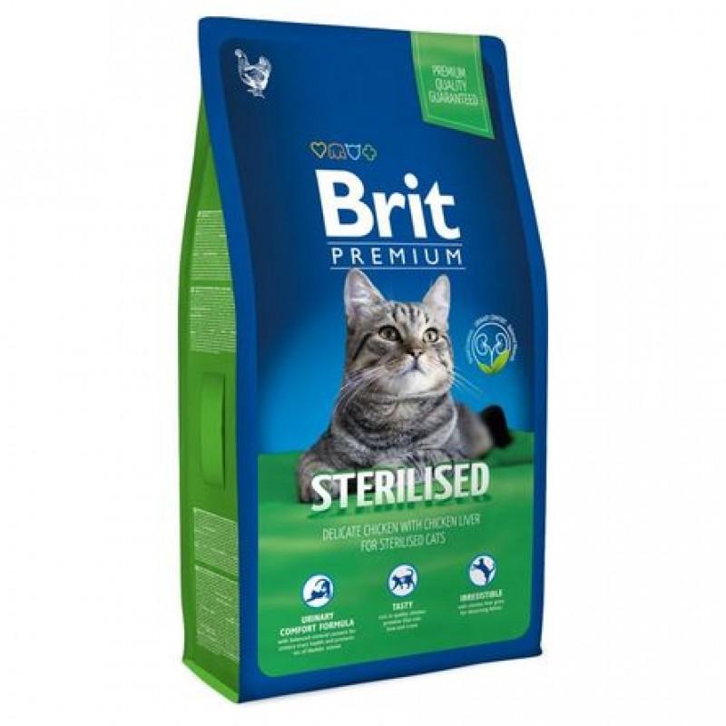 Brit Premium Cat Sterilised Chicken Сухой корм для стерилизованных кошек (курица и куриная печень), 8 кг