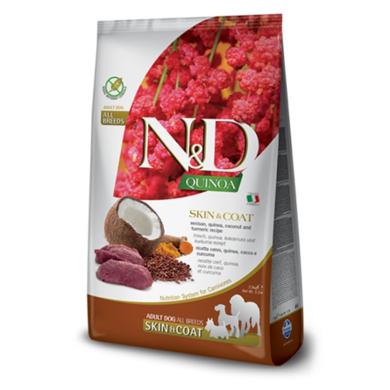 Farmina N&D GF QUINOA SKIN&COAT VENISON сухой корм для собак для здоровья кожи и шерсти (с олениной и киноа), 2,5 кг