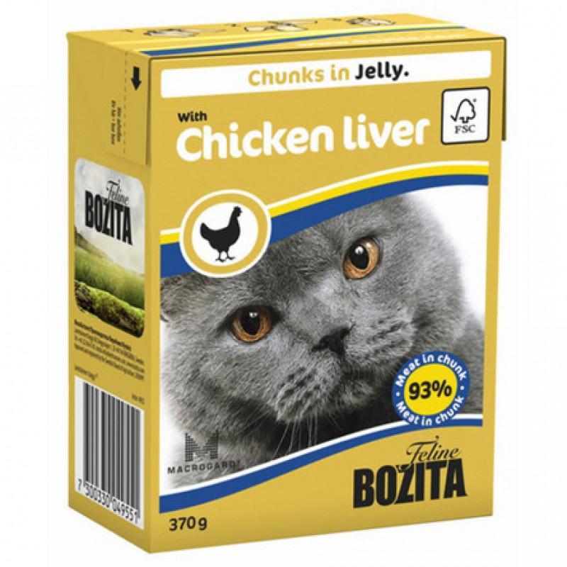 Bozita Кусочки паштета в желе для взрослых кошек (с куриной печенью), 370 гр