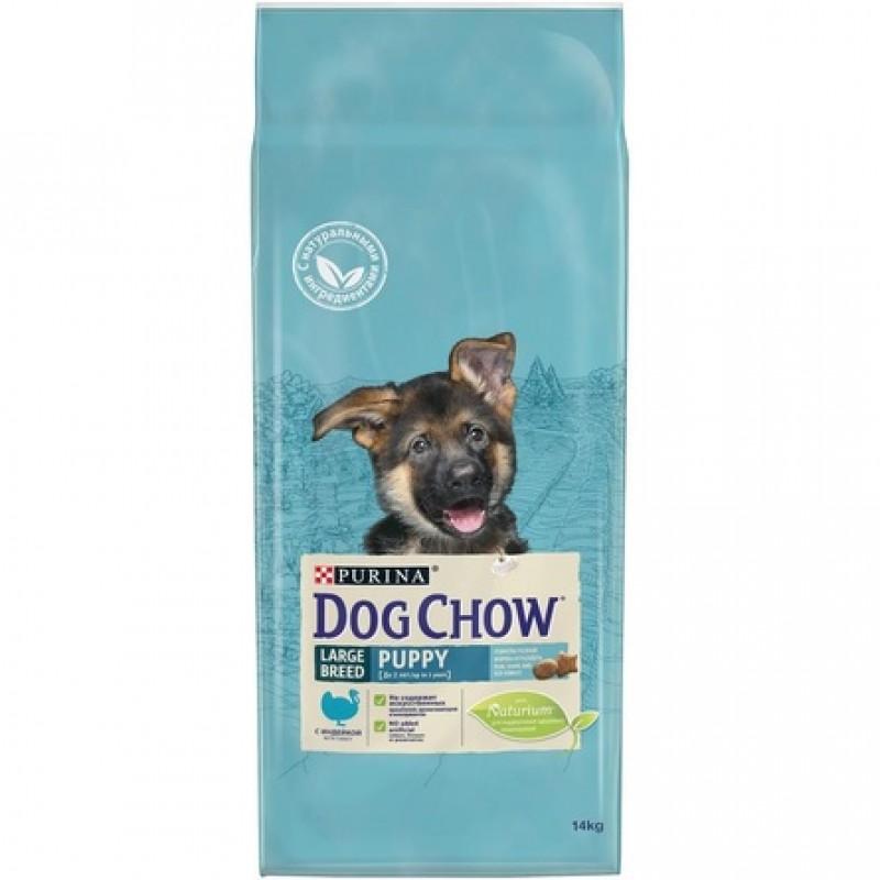 Dog Chow Puppy Large Breed Сухой корм для щенков крупных пород (с индейкой и рисом), 14 кг