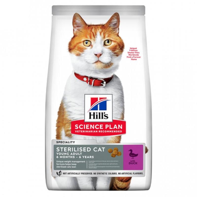 Hill's Science Plan сухой корм для стерилизованных кошек меньше 7 лет (утка), 1,5 кг