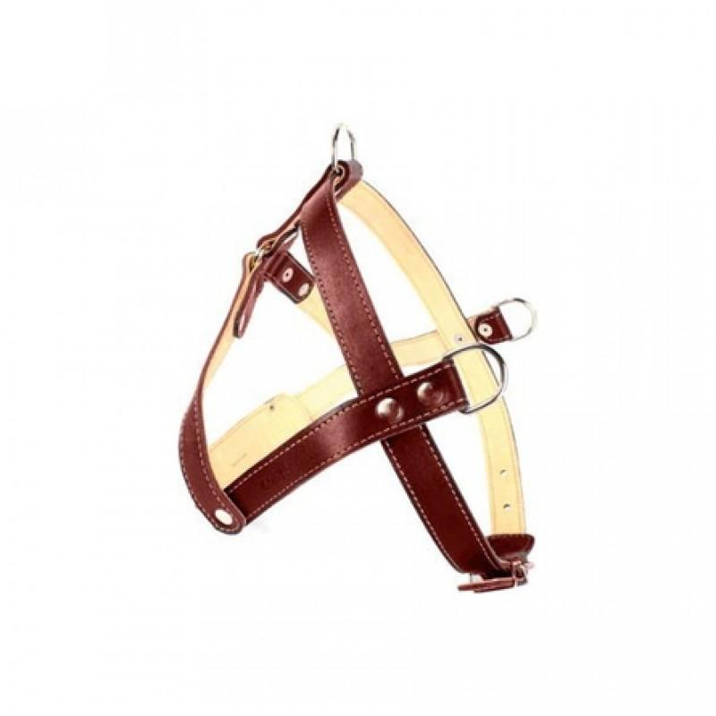 Collar Шлейка двойная тяговая для собак, ширина 2,5 см, обхват шеи 60-69 см, обхват груди 69-81 см, коричневая