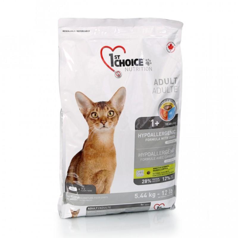 1st Choice Hypoallergenic Гипоаллергенный сухой корм для взрослых кошек (с уткой и картофелем), 5,44 кг