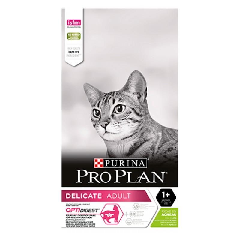 Pro Plan Delicate Сухой корм для взрослых кошек с чувствительным пищеварением (с ягненком), 10 кг