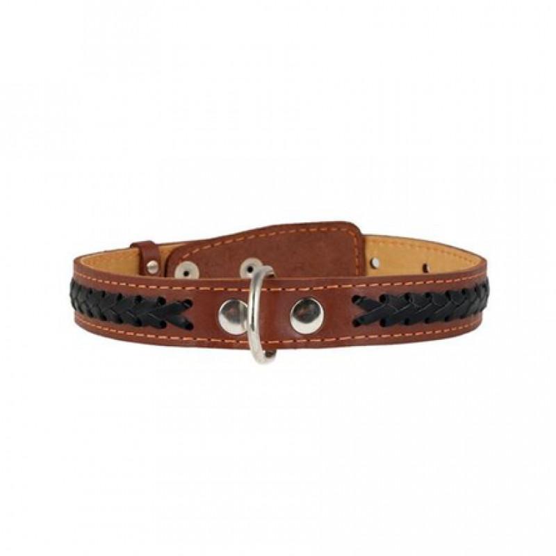 Collar Ошейник для собак двойной, с вплетенной косой, ширина 2,5 см, длина 38-50 см, коричневый