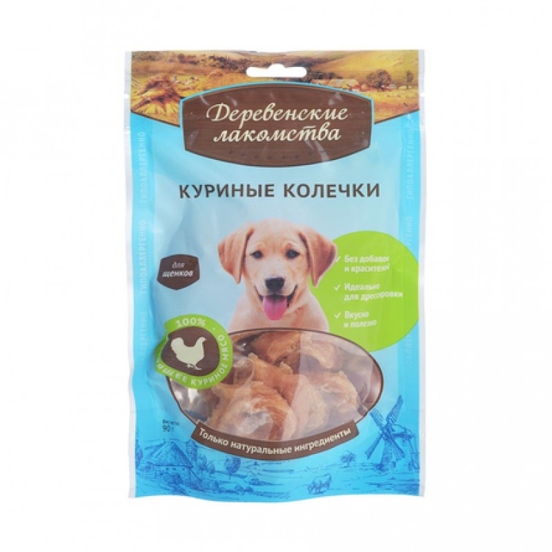 Деревенские Лакомства Куриные колечки для щенков всех пород, 100 гр