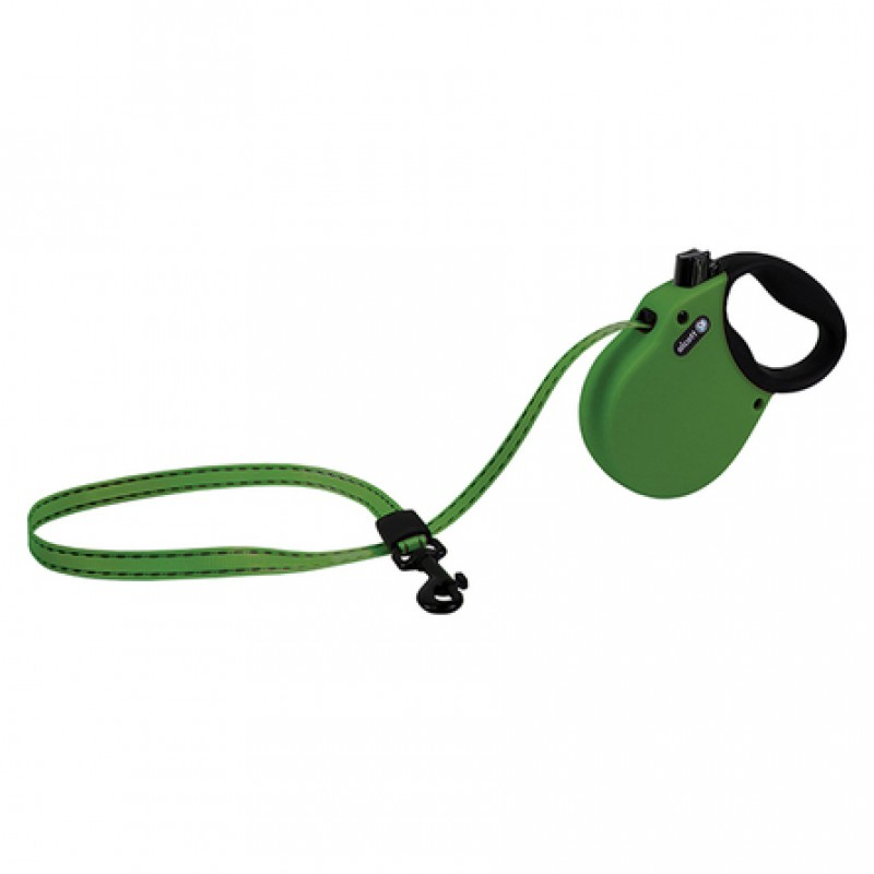Alcott Adventure S Поводок-рулетка для собак до 20 кг, лента, зеленая