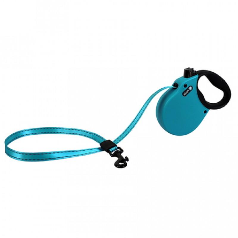 Alcott Adventure S Поводок-рулетка для собак до 20 кг, лента, голубая