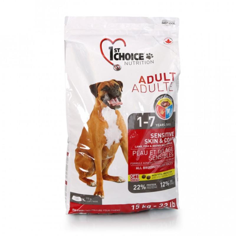 1st Choice Adult Sensitive Skin&Coat Сухой корм для взрослых собак всех пород с чувствительной кожей и шерстью (с ягнёнком, рыбой и рисом), 15 кг