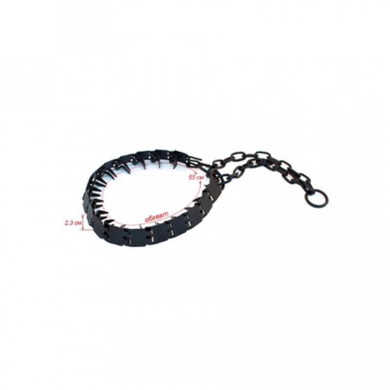 Darell Ошейник для собак строгий пластинчатый вороненый, толщина 1,5 мм, ширина 2,3 см, длина 55 см