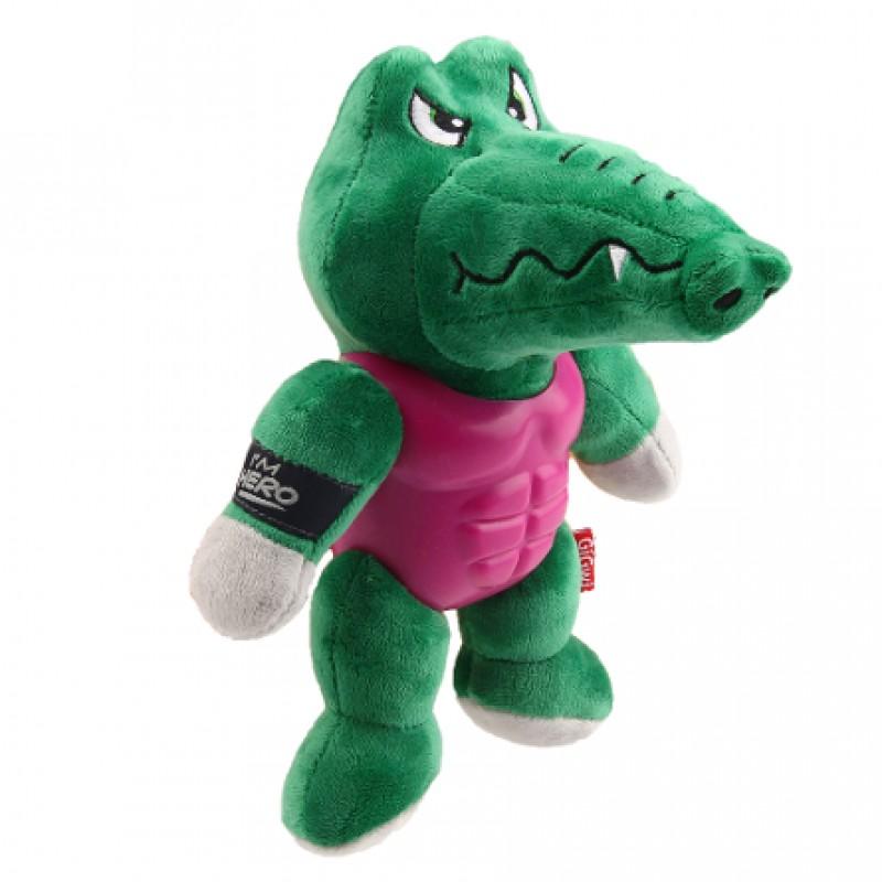 GiGwi I'am Hero Игрушка для собак Крокодил с пищалкой в резиновой защите