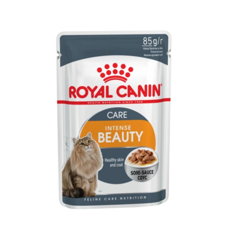 Royal Canin Intense Beauty Кусочки паштета в соусе для взрослых кошек для кожи и шерсти, 85 гр