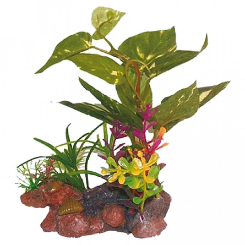 N1 Растение Цветы и зелень на камнях, 10х7,5х13 см