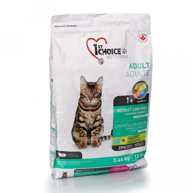 1st Choice Weight Control Сухой корм для взрослых кошек, склонных к набору веса (с курицей), 5,44 кг