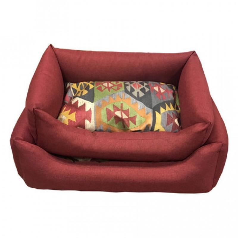 CLP Мехико Лежанка прямоугольная для кошек и собак, со съемным чехлом для подушки М (бордо)