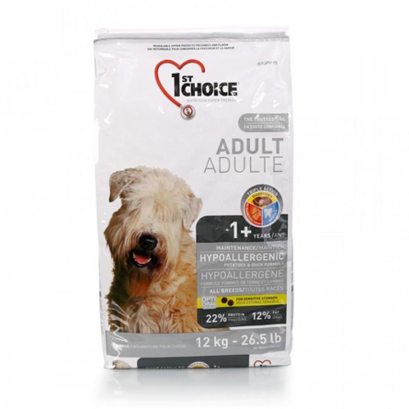 1st Choice Adult Hypoallergenic All Breeds Гипоаллергенный сухой корм для взрослых собак всех пород (с уткой и картофелем), 12 кг