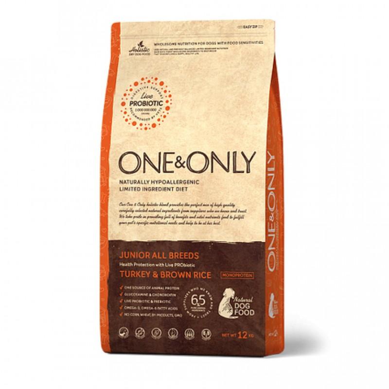 One&Only Turkey & Rice JUNIOR All Breeds сухой корм для молодых собак всех пород (индейка с рисом), 3 кг