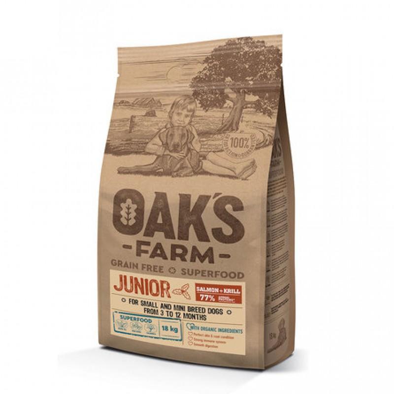 Oaks Farm Grain Free Junior Small and Mini беззерновой сухой корм для щенков малых и мини пород от 3 до 12 мес. (лосось и криль), 18 кг