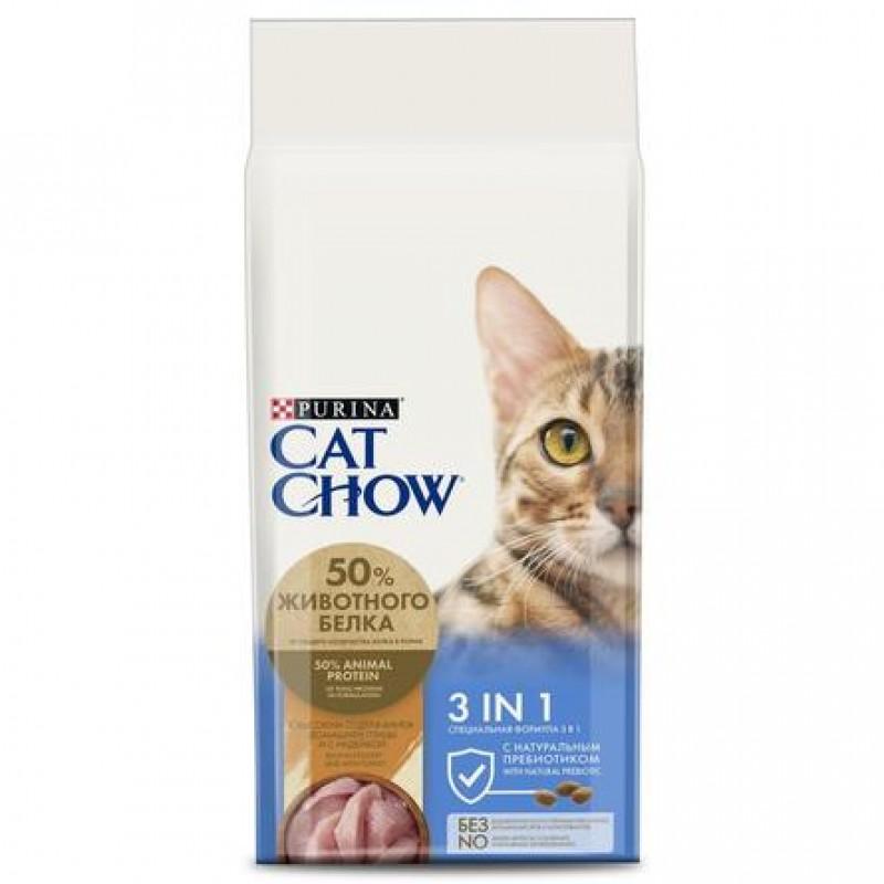 Cat Chow 3 в 1 Сухой корм для взрослых кошек (с высоким содержанием домашней птицы и с индейкой), 15 кг