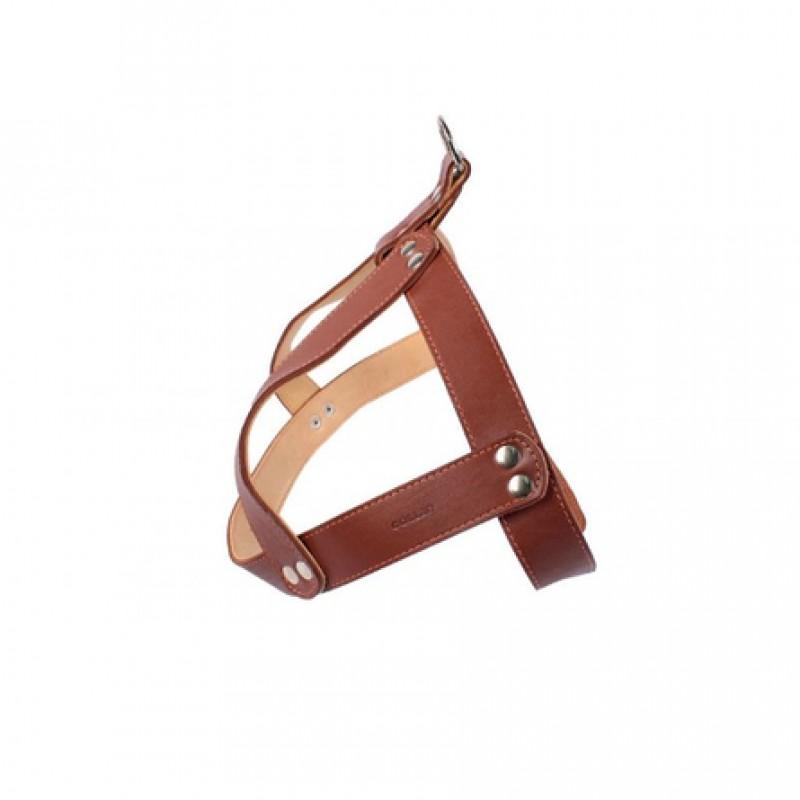 CoLLaR Шлея кожаная двойная, для бультерьера и стаффа, ширина 3,5 см, обхват 73-88 см, коричневая