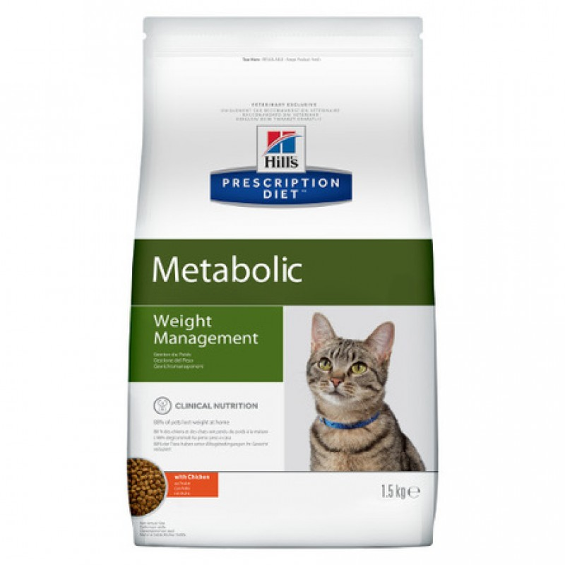 Hill's Prescription Diet Metabolic Weight Management Сухой лечебный корм для кошек для контроля избыточного веса (с курицей), 1,5 кг