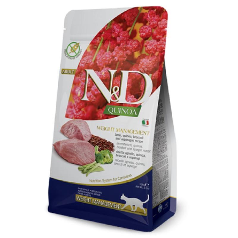 Farmina N&D GF QUINOA WEIGHT MANAGEMENT LAMB сухой корм для кошек для контроля веса (с ягненком и киноа), 0,3 кг