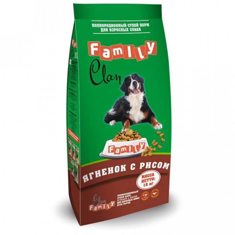 Clan Family Сухой гипоаллергенный корм для взрослых собак всех пород (с ягненком и рисом), 15 кг