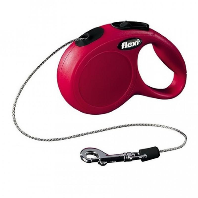 Flexi New Classic XS Поводок-рулетка для животных до 8 кг, трос, красная