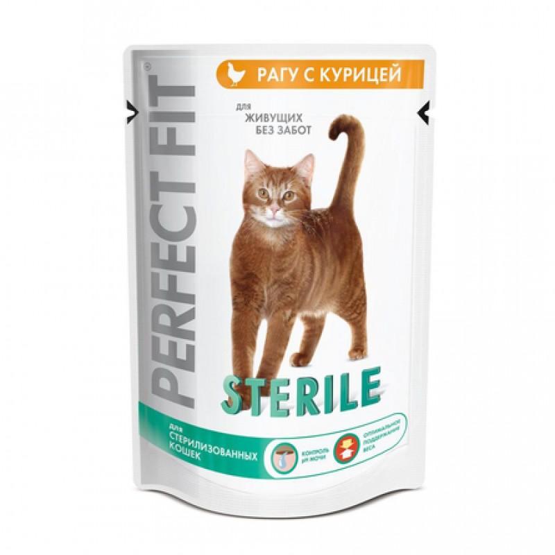 Perfect Fit Sterile Кусочки паштета в соусе для взрослых стерилизованных кошек и кастрированных котов (с курицей), 85 гр