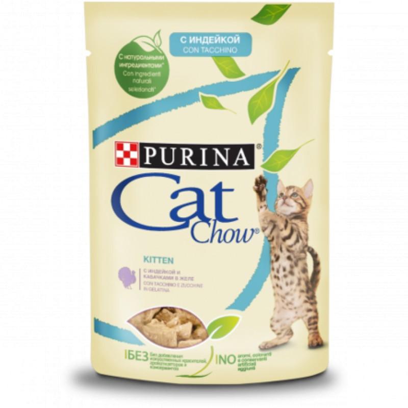 Cat Chow влажный корм для котят (индейка с кабачками в желе), 85 гр.