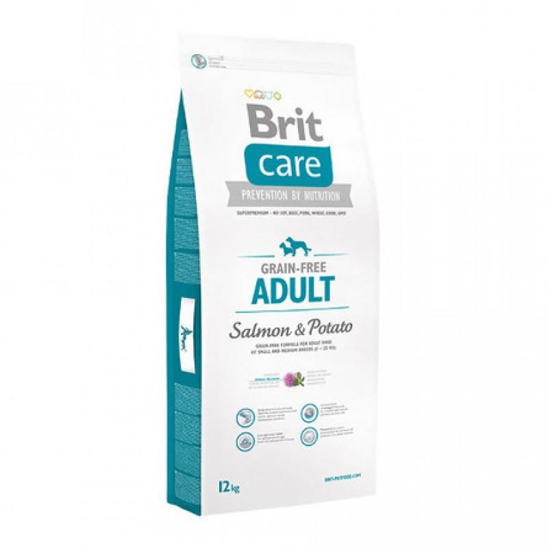 Brit Care Grain-Free Adult Salmon Сухой корм для взрослых собак мелких и средних пород (с лососем и картофелем), 12 кг