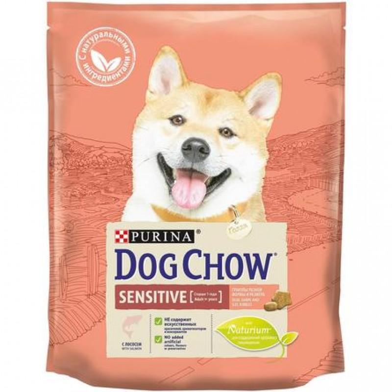 Dog Chow Sensitive Сухой корм для собак с чувствительным пищеварением (с лососем), 800 гр
