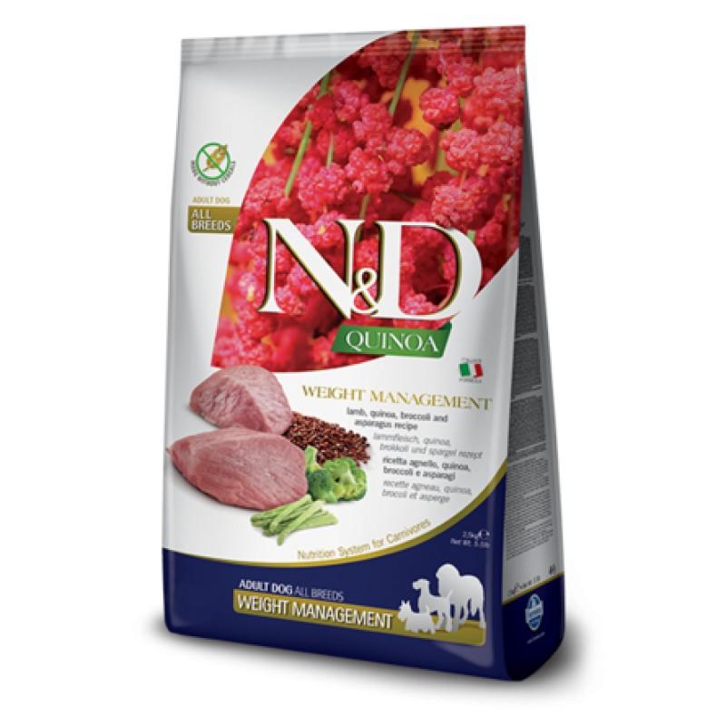 Farmina N&D GF QUINOA WEIGHT MANAGEMENT LAMB сухой корм для собак для контроля веса (с ягненком и киноа), 0,8 кг