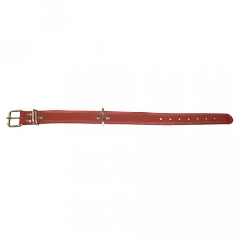Аркон Ошейник для собак, один слой кожи, двойная декоративная строчка, ширина 3,5 см, длина 45-60 см, коньячный