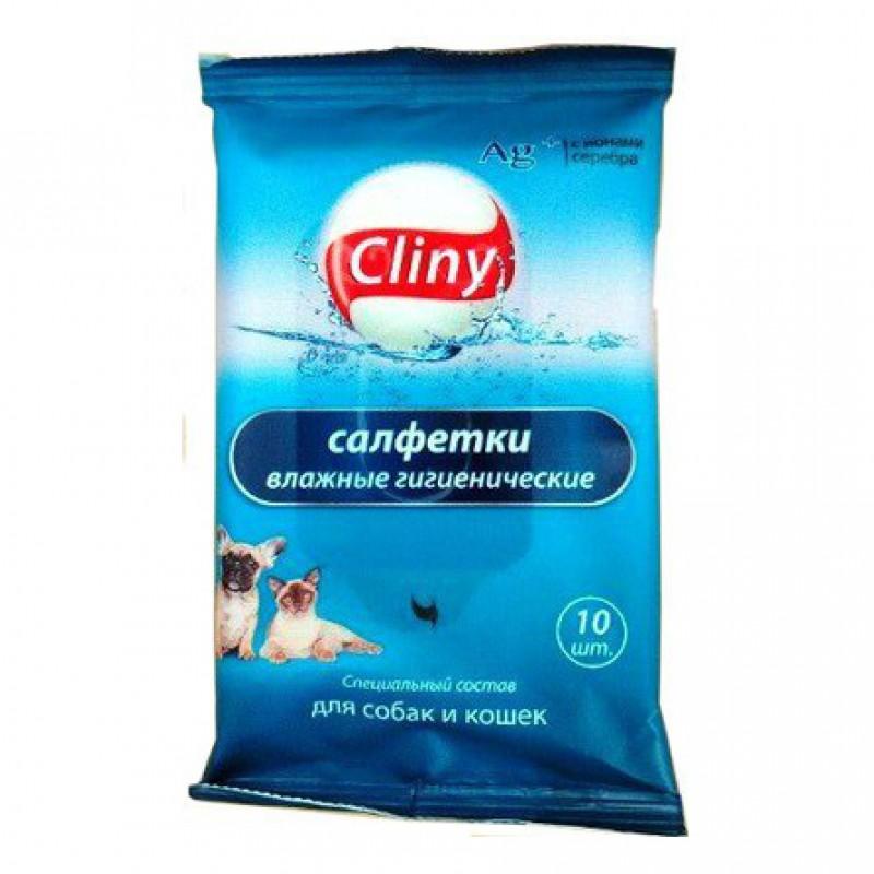 Cliny Влажные салфетки для шерсти и кожи, 10 шт