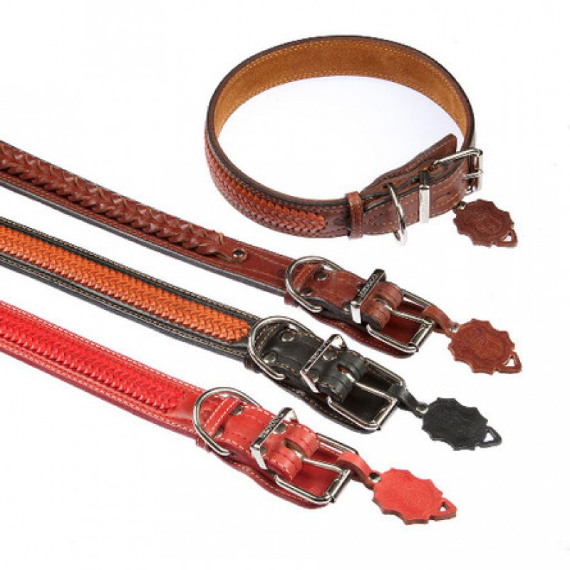 Dogger Ошейник для собак, с плетением, ширина 4 см, длина 55-70 см
