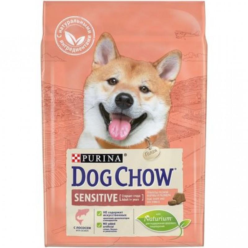 Dog Chow Sensitive Сухой корм для взрослых собак всех пород с чувствительным пищеварением (с лососем), 2,5 кг