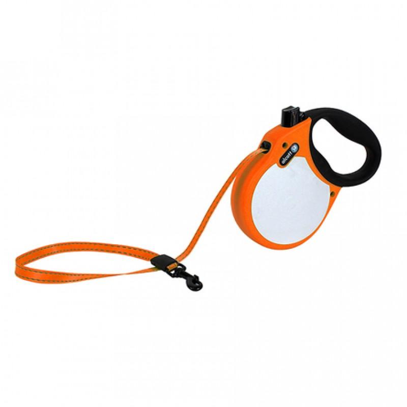 Alcott Visibility S Поводок-рулетка для собак до 20 кг, лента, оранжевая