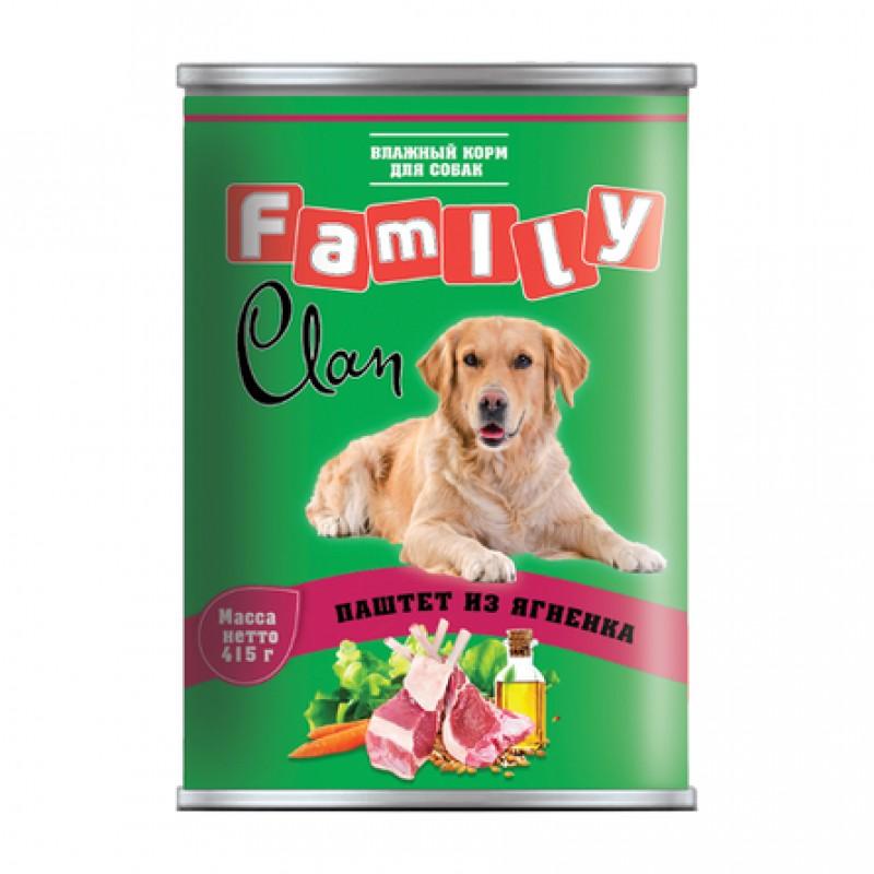 Clan Family Паштет для взрослых собак всех пород (с ягненком), 415 гр