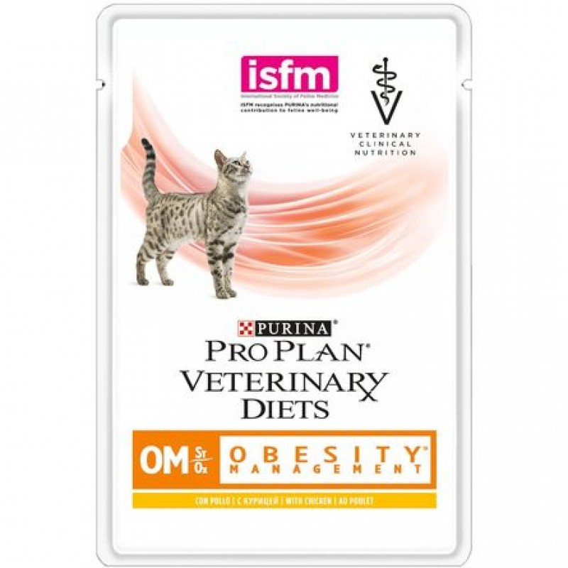 Влажный корм Pro Plan Veterinary Diets OM St/Ox для взрослых кошек для снижения избыточной массы тела (с курицей), 85 гр