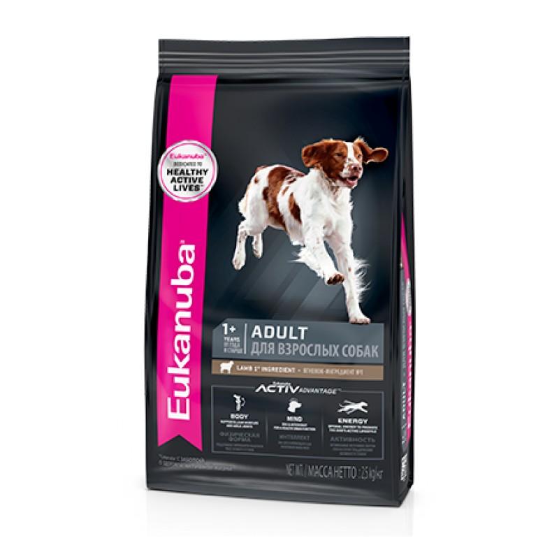 Eukanuba Adult 1+ Сухой корм для взрослых собак мелких и средних пород (с ягнёнком и рисом), 2,5 кг