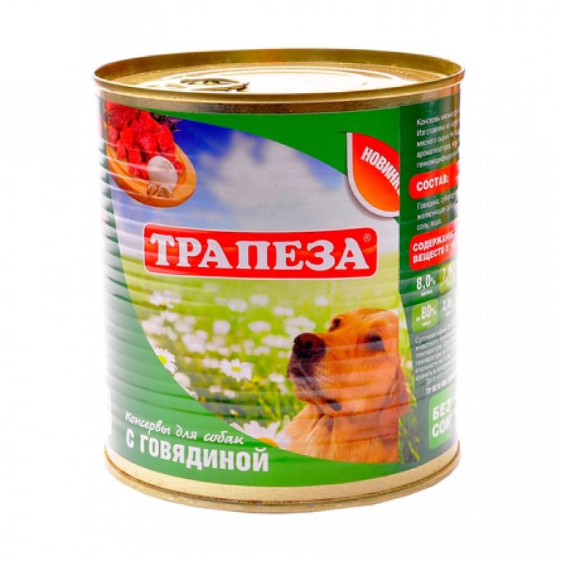 Трапеза Паштет для взрослых собак всех пород (с говядиной), 750 гр