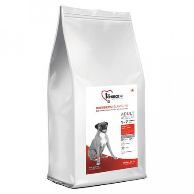 1st Choice Breeders Adult Sensitive Skin & Coat Сухой корм для взрослых собак всех пород для кожи и шерсти (с ягненком, рыбой и рисом), 20 кг