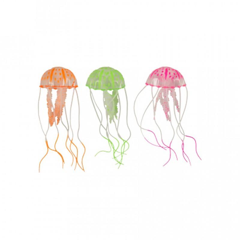 Flamingo Декорация для аквариума светящаяся медуза, цвет в ассортименте, силикон