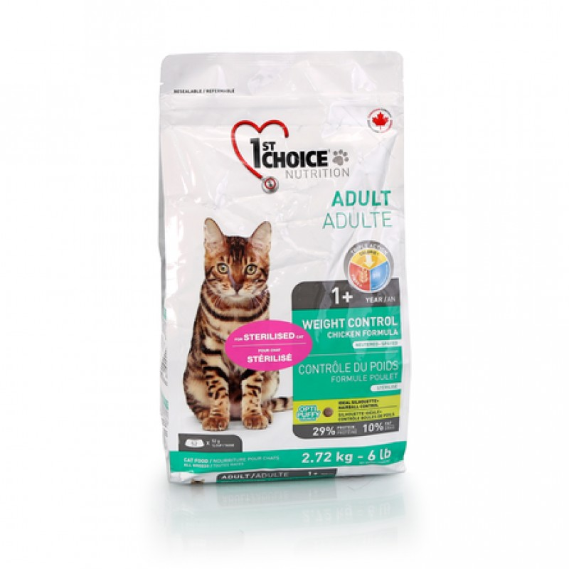 1st Choice Weight Control Сухой корм для взрослых кошек, склонных к набору веса (с курицей), 2,72 кг