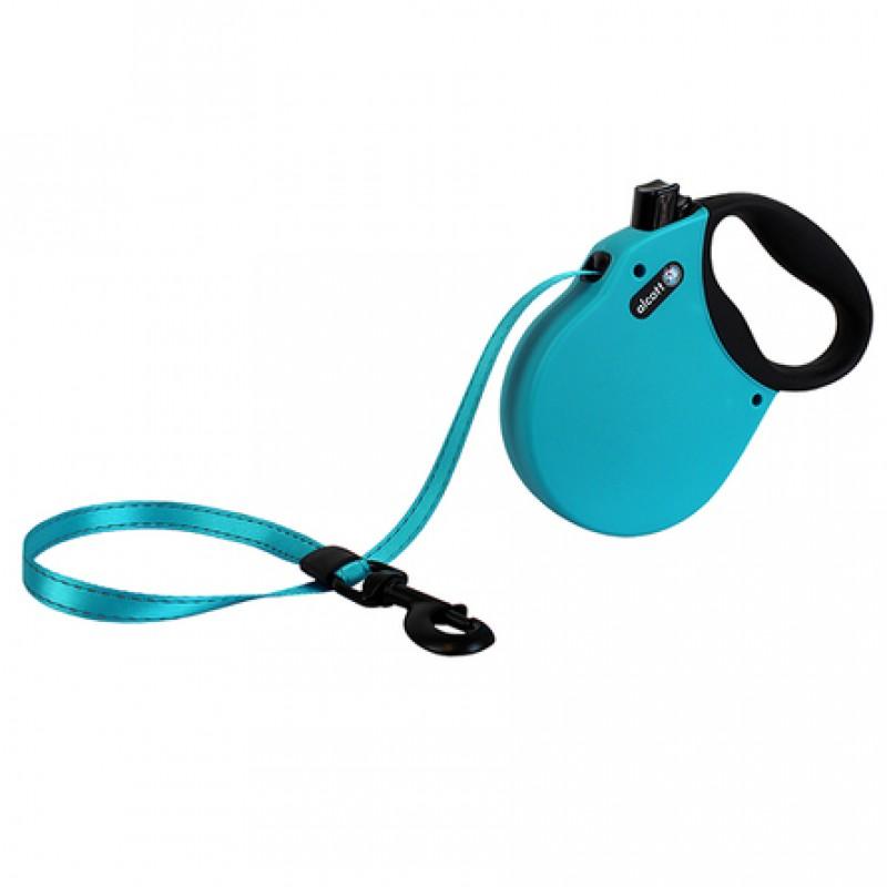 Alcott Adventure L Поводок-рулетка для собак до 50 кг, лента, голубая