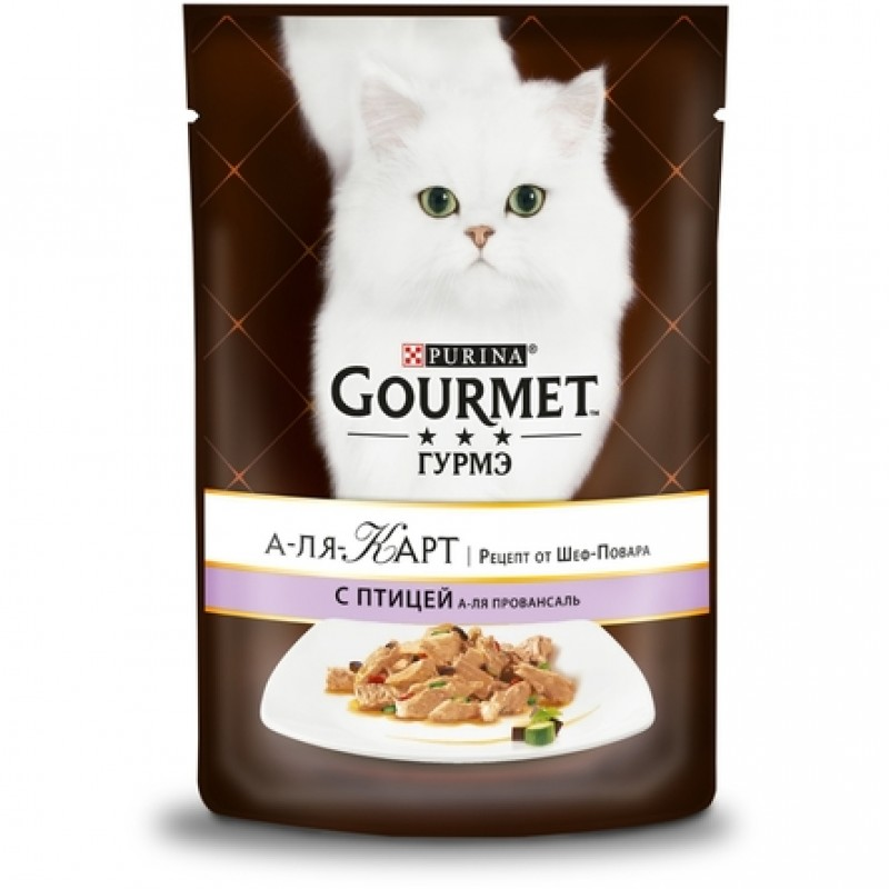 Gourmet a la Carte Кусочки мяса в соусе для взрослых кошек (с курицей, баклажаном и томатом), 85 гр