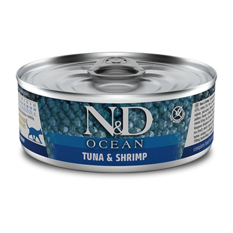 Farmina N&D OCEAN Полнорационный влажный корм для взрослых кошек (тунец с креветками), 80 гр