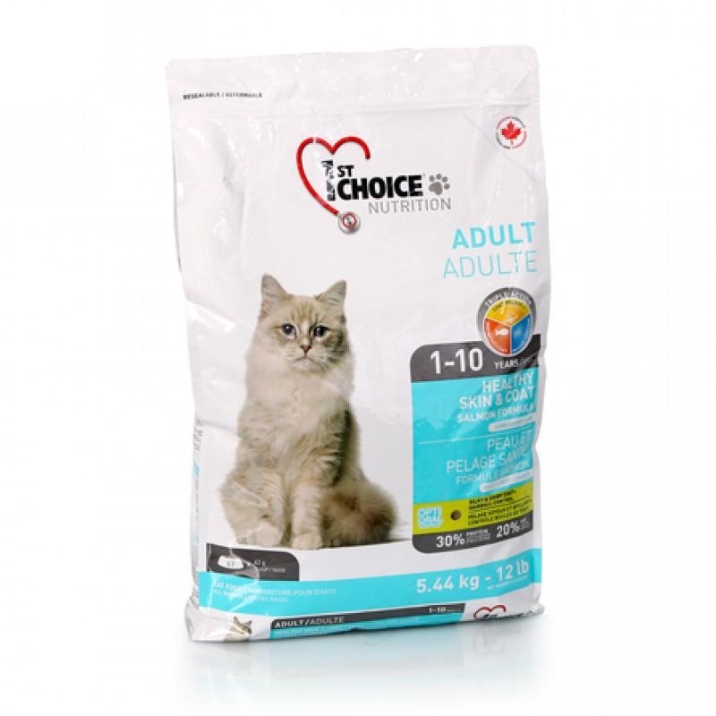 1st Choice Healthy Skin & Coat Сухой корм для взрослых кошек с чувствительной кожей и шерстью (с лососем), 5,44 кг